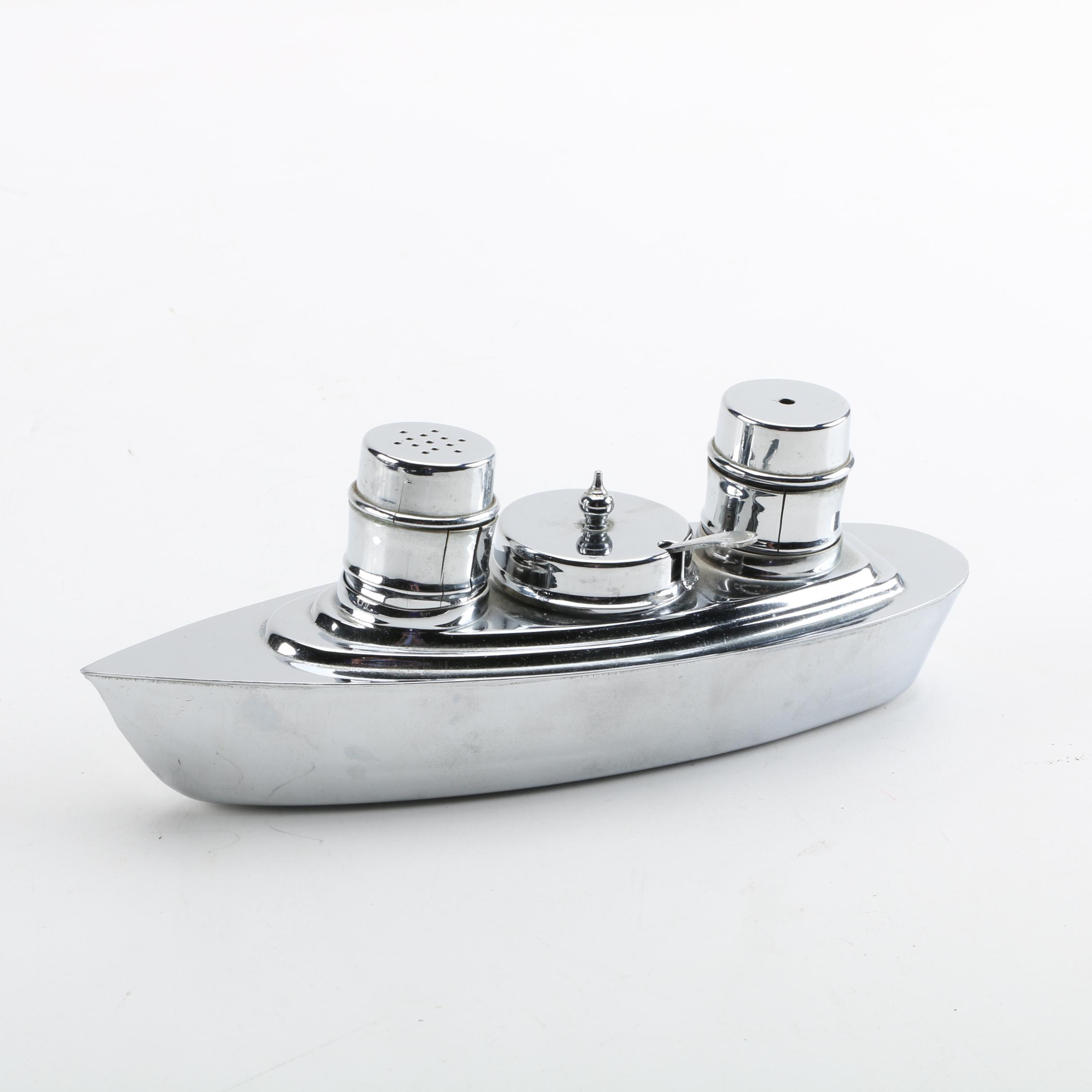 Art Deco Chromed Metal Ocean Liner Condiment Set