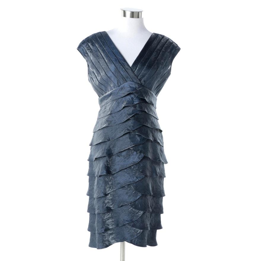 Adrianna Papell Blue Satin Shutter Pleated Cocktail Dress : EBTH