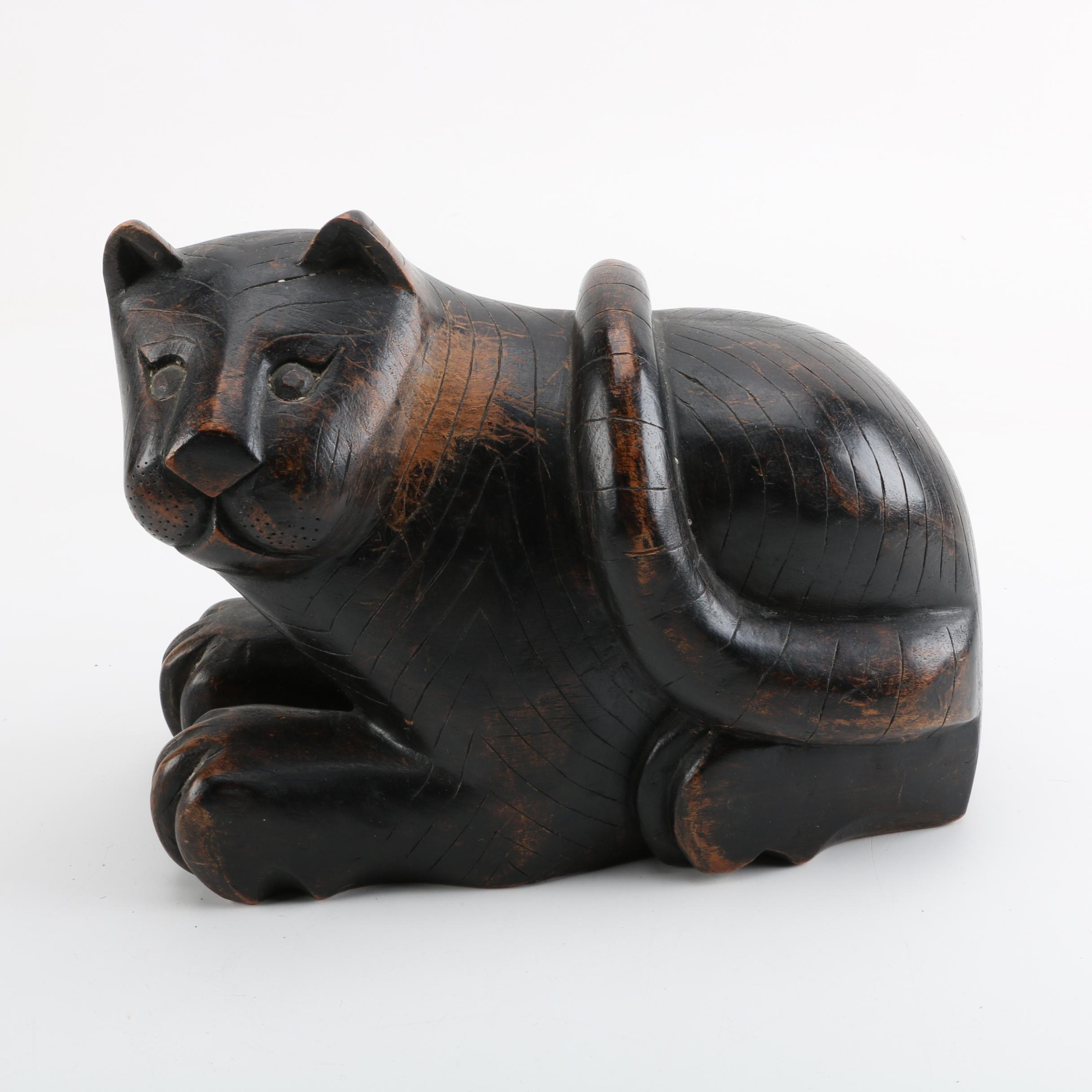 Vintage Painted Wood Figure of a Cat