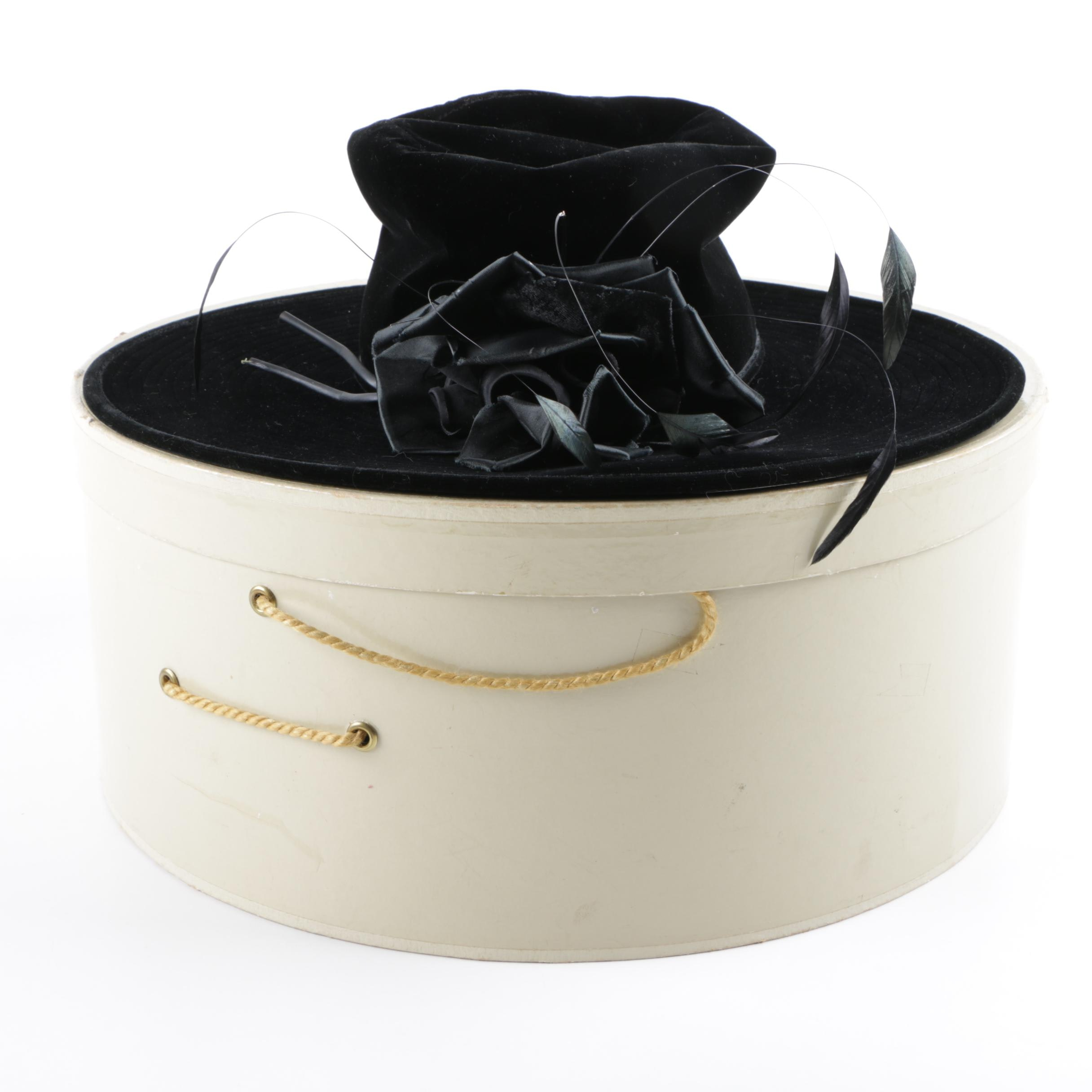 Black Gwenn Pennington Velour Hat with Feather Accents