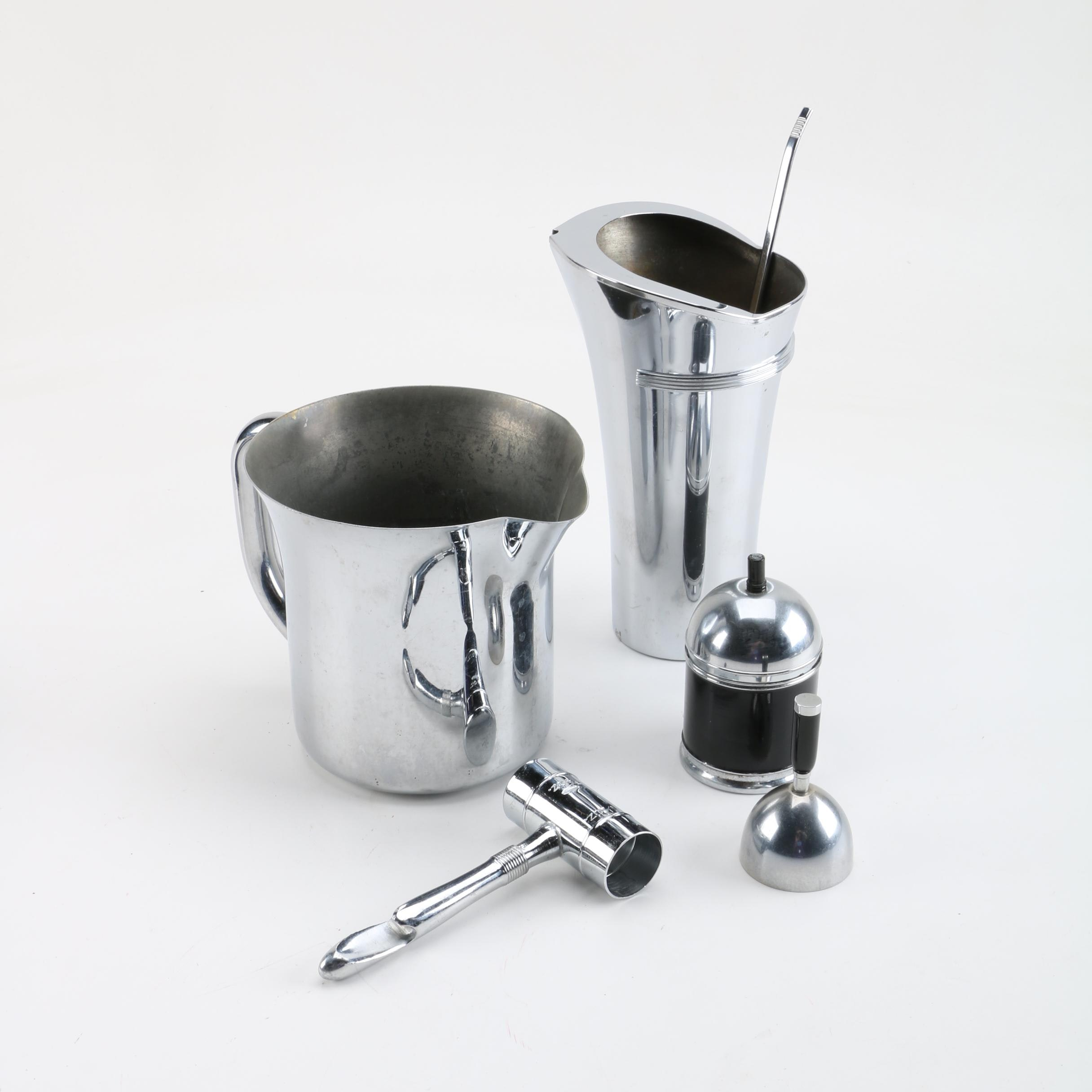 Group of Chromed Metal Barware and Accessories