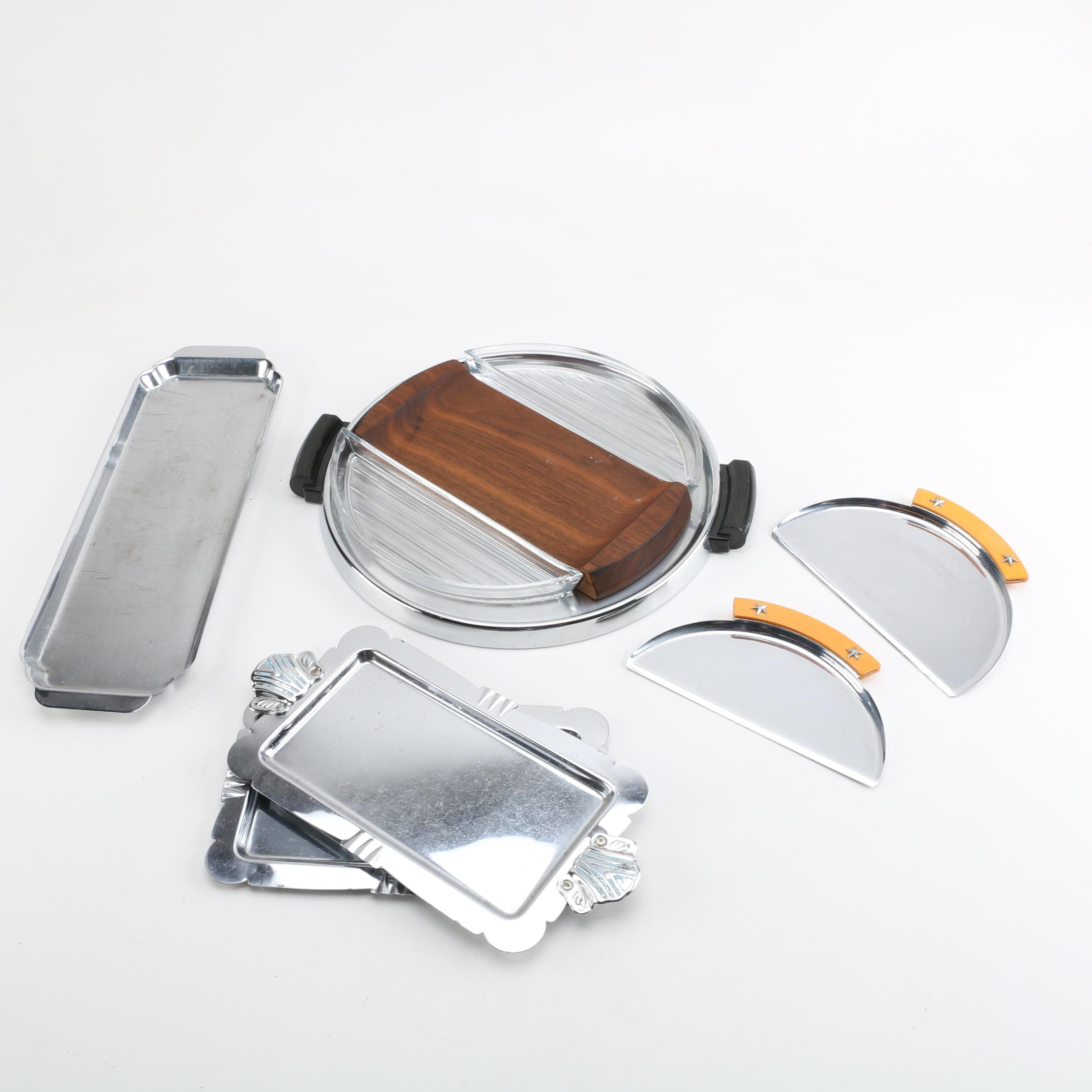 Group of Art Deco Chromed Metal Serveware and More