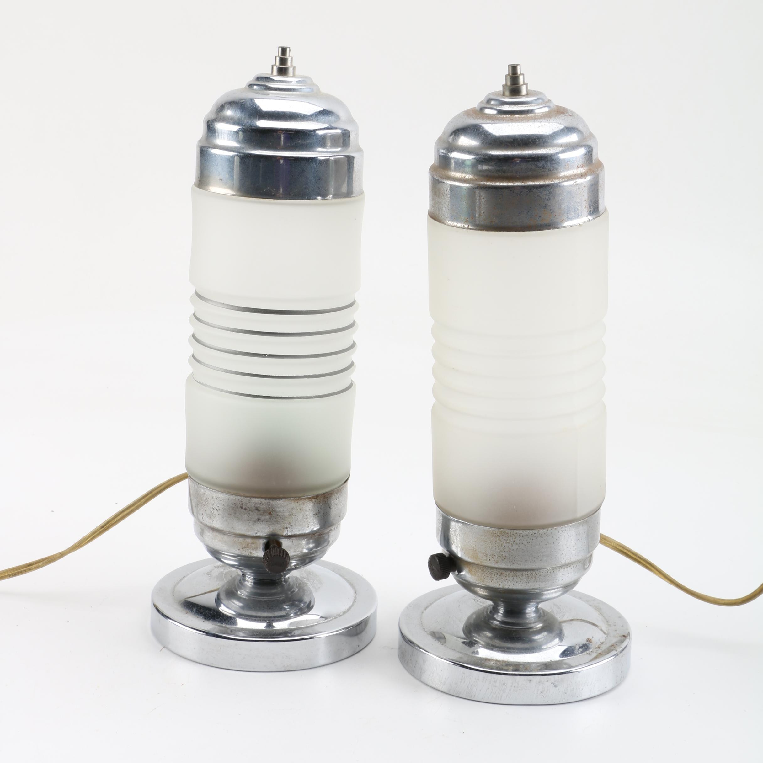 Pair of Art Deco Chrome and Glass Bullet Lamps