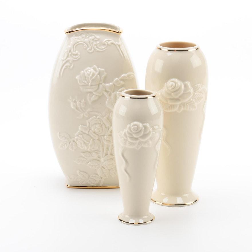 Lenox Rose Blossom Vases And Rose Motif Vase Ebth