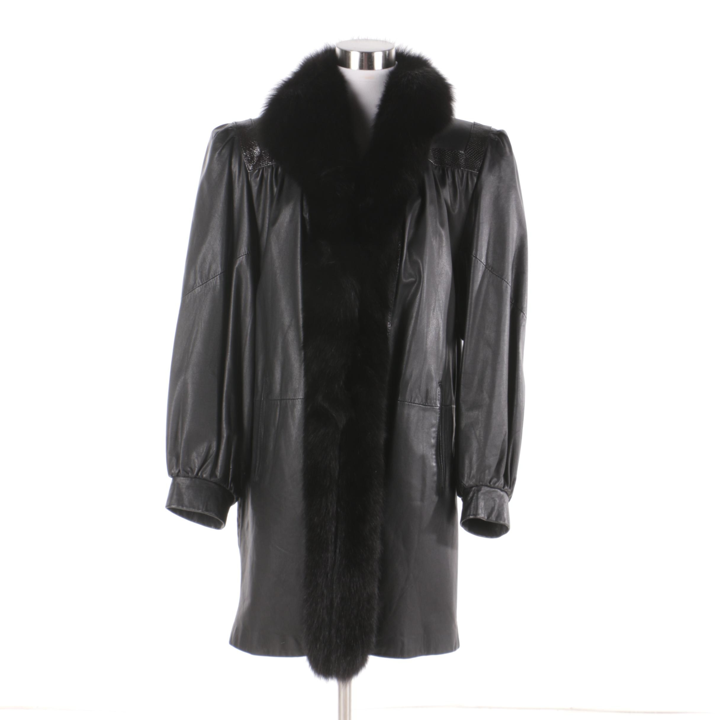 Women's Vintage Leather Coat with Fox Fur Collar