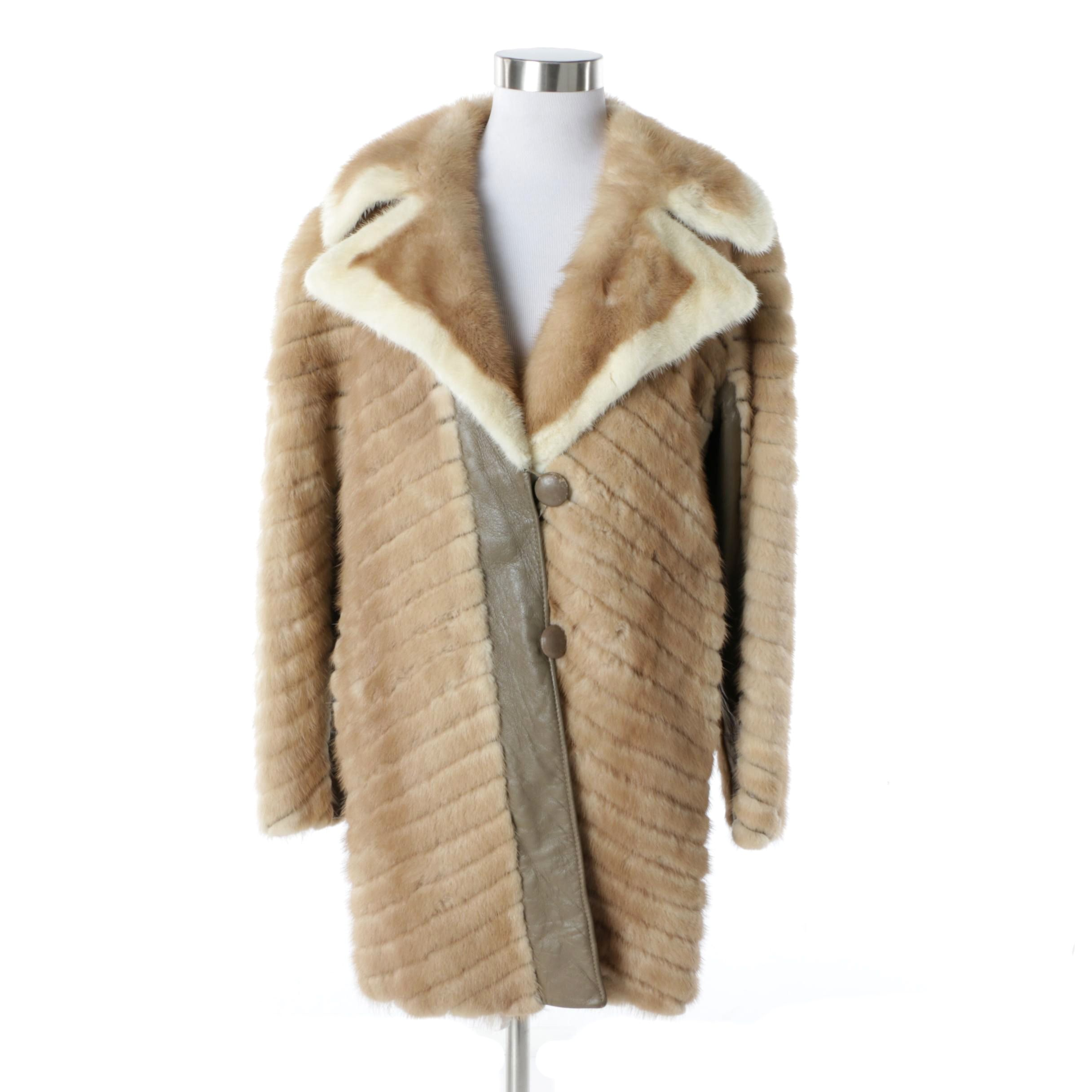 Women's Vintage Mink Fur and Leather Coat
