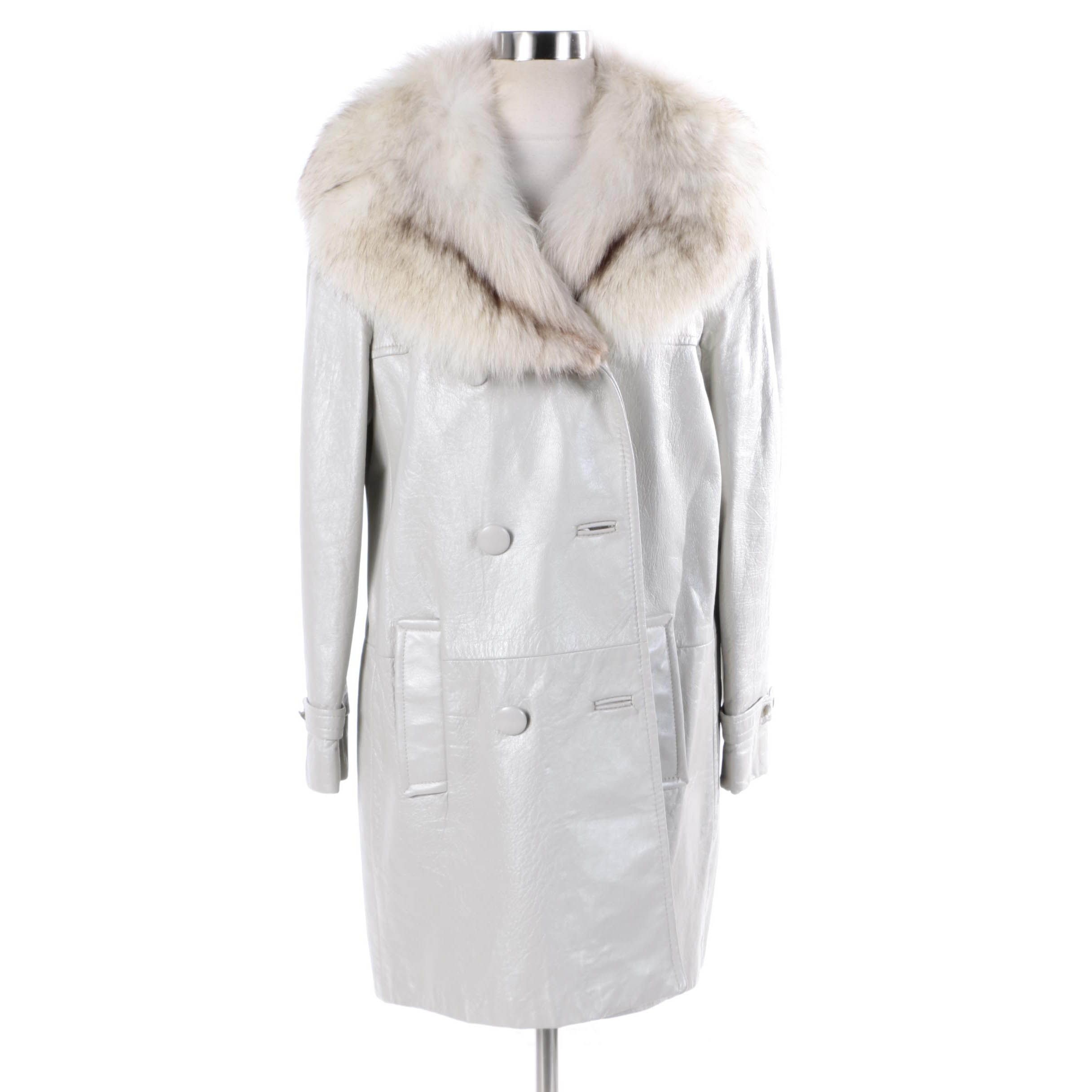 Women's Vintage Double-Breasted Grey Leather Coat with Fox Fur Collar