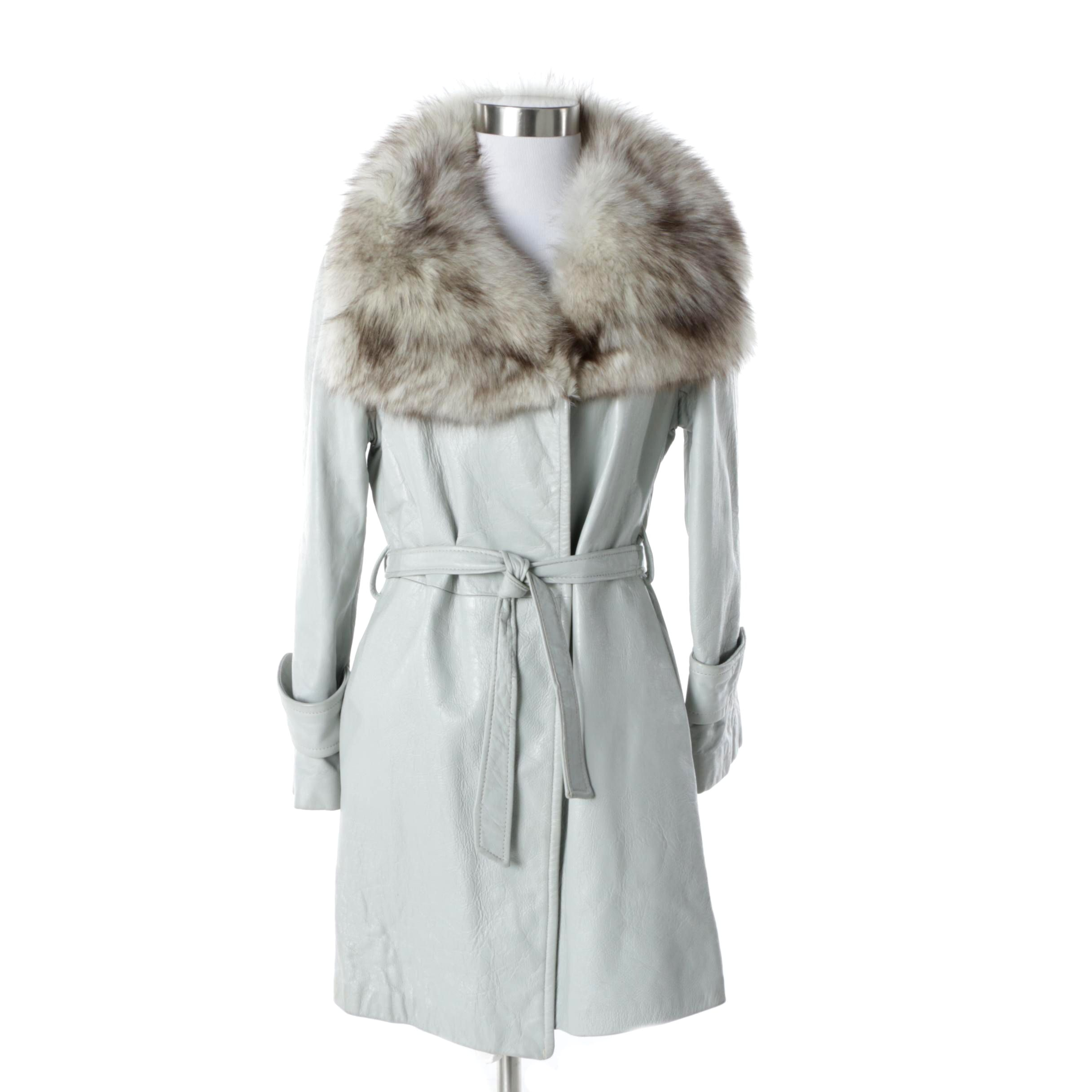 Vintage Grey Leather Coat with Fox Fur Collar