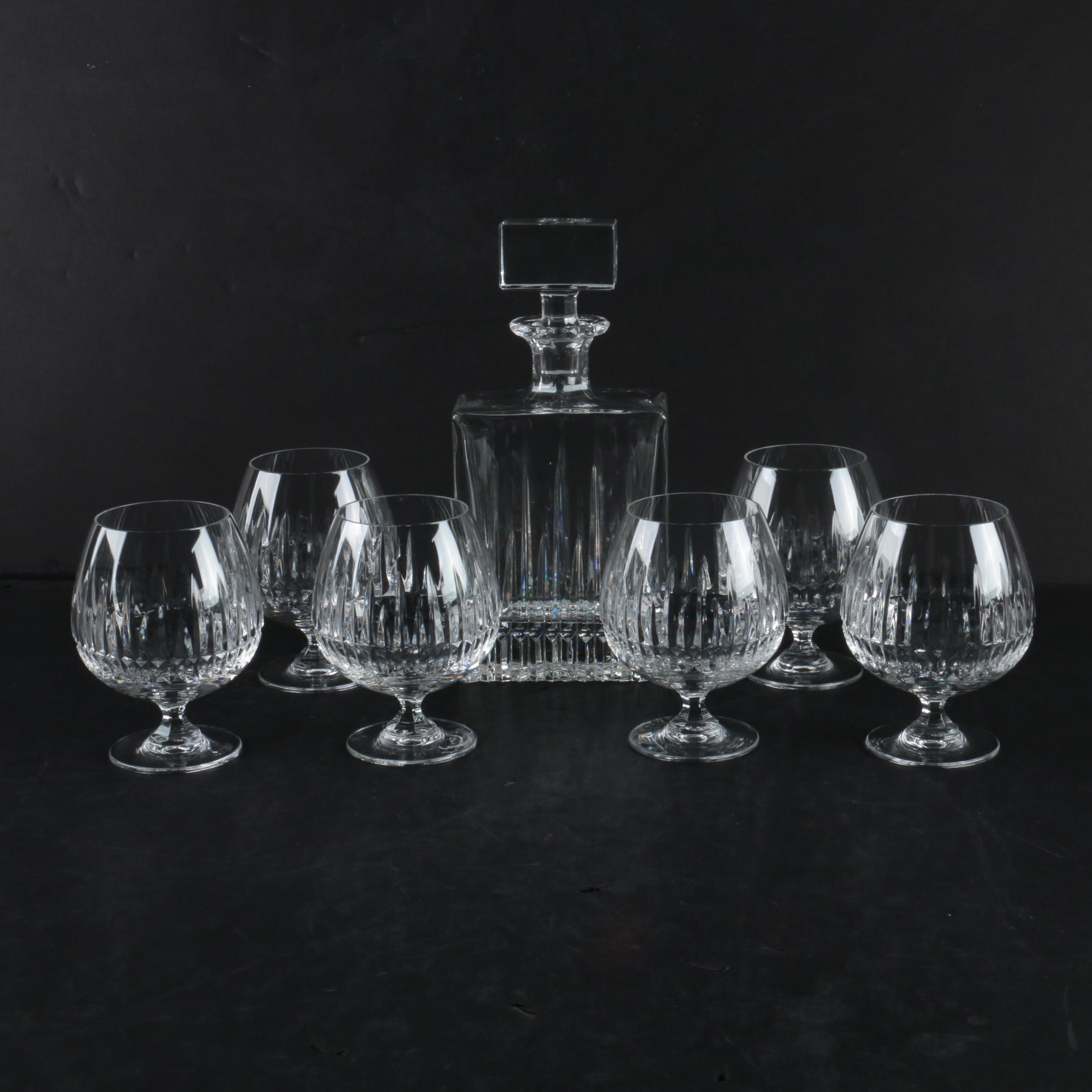Crystal Decanter and Brandy Snifters