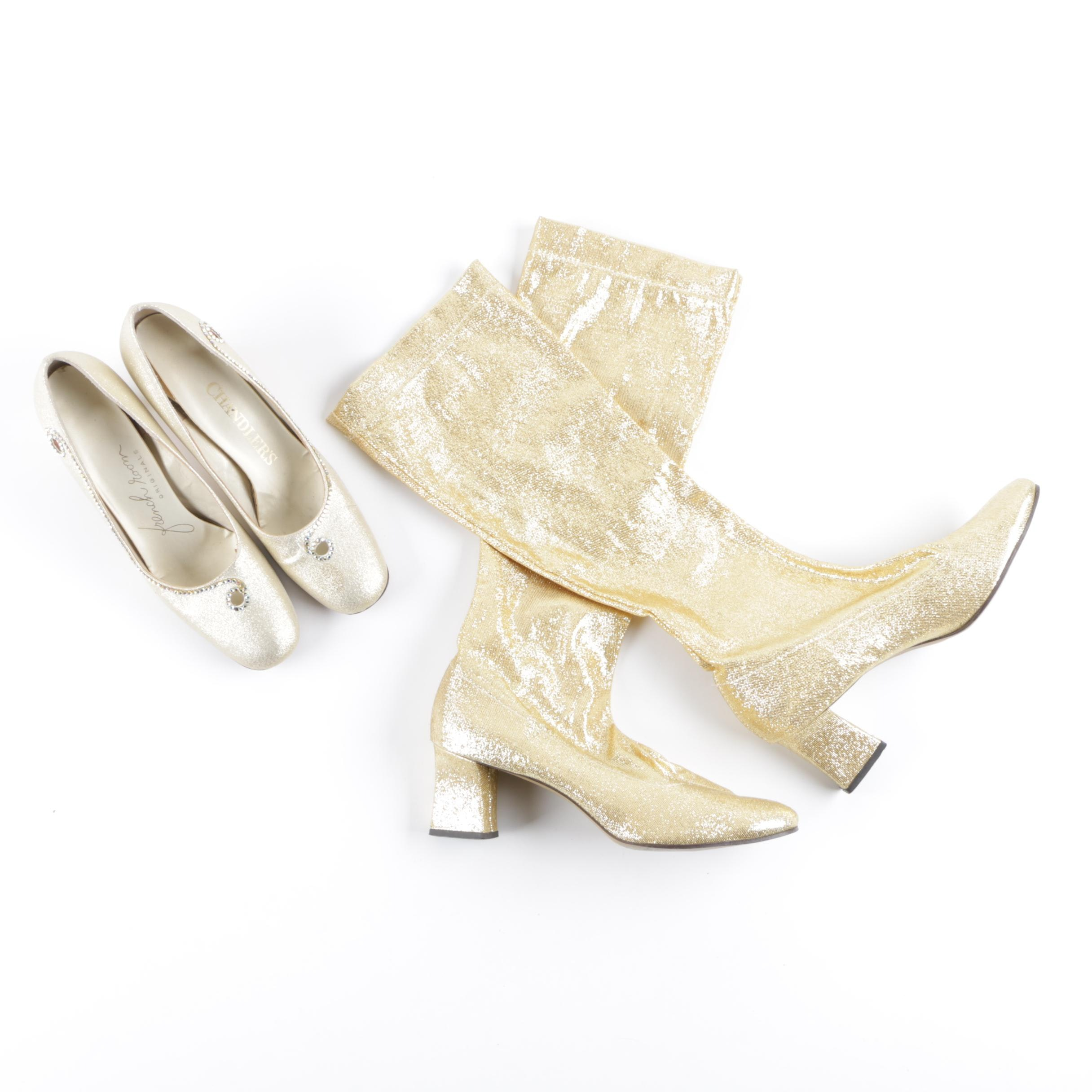 Vintage Metallic Gold Shoes Including Go-Go Boots