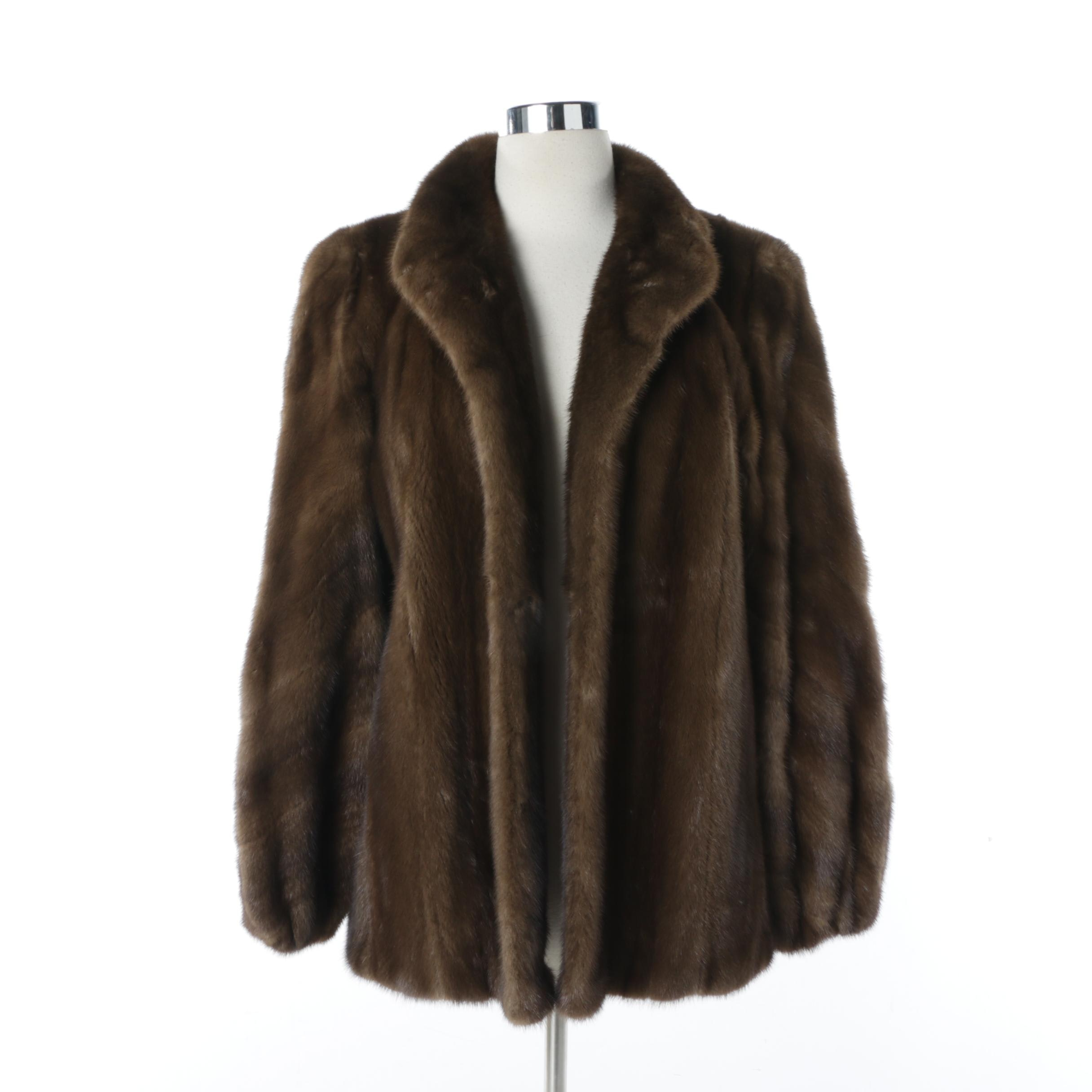 Women's Bullocks Wilshire Brown Mink Fur Coat