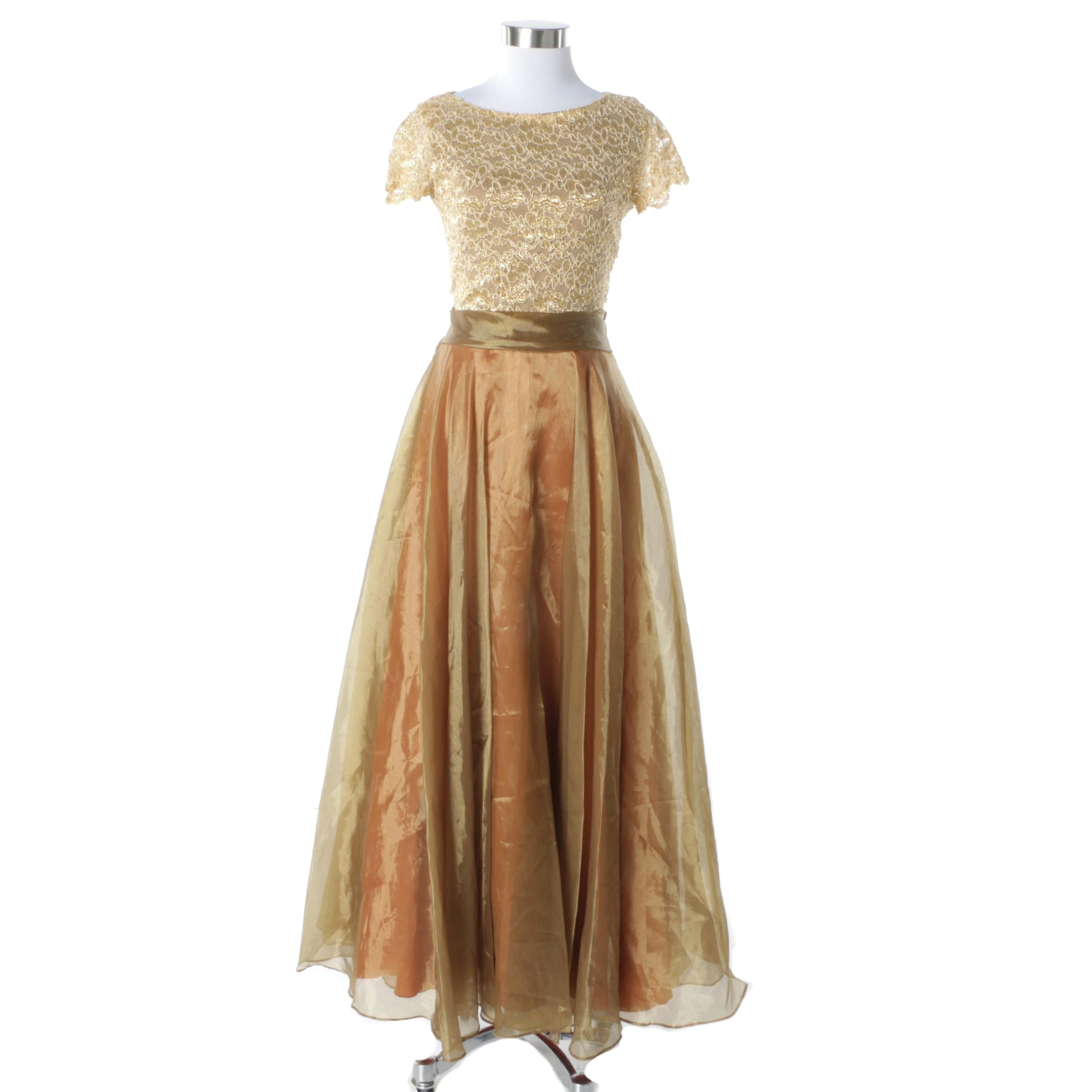 JS Collections Short Sleeve Gown with Iridescent Skirt
