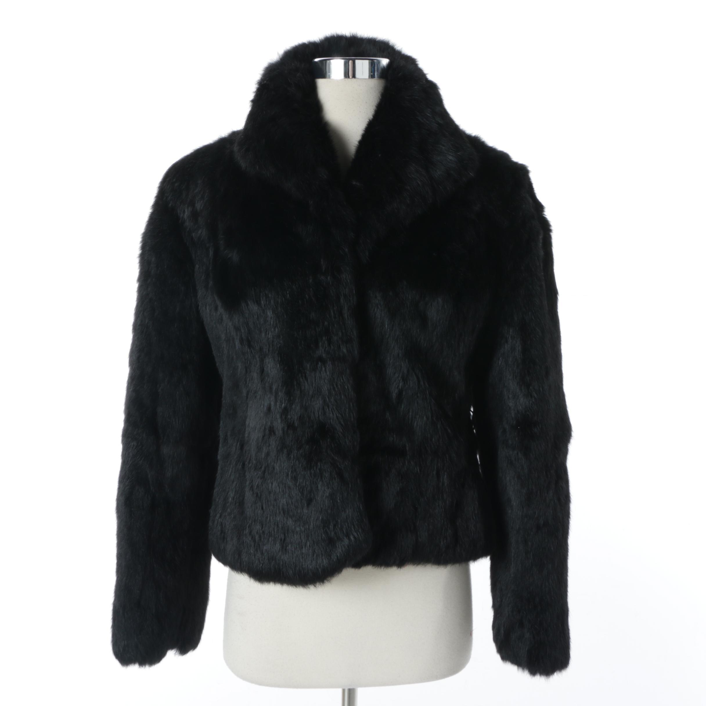 Women's Lapiel Black Rabbit Fur Coat