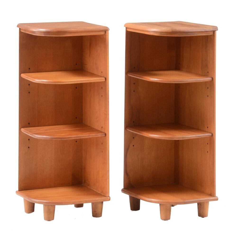 Vintage Mid Century Modern Maple Corner Bookshelves After Heywood
