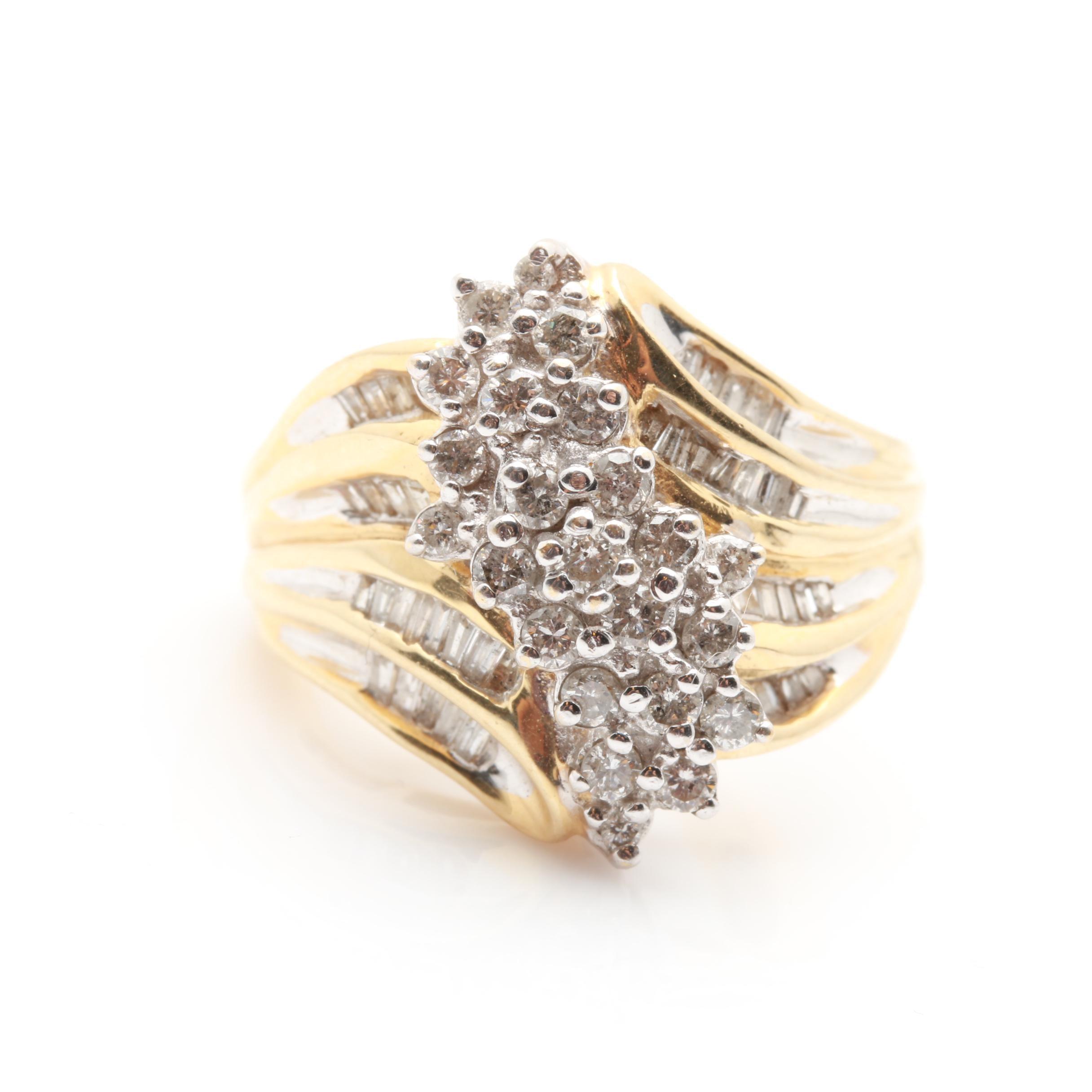 14K Yellow Gold 0.97 CTW Diamond Ring