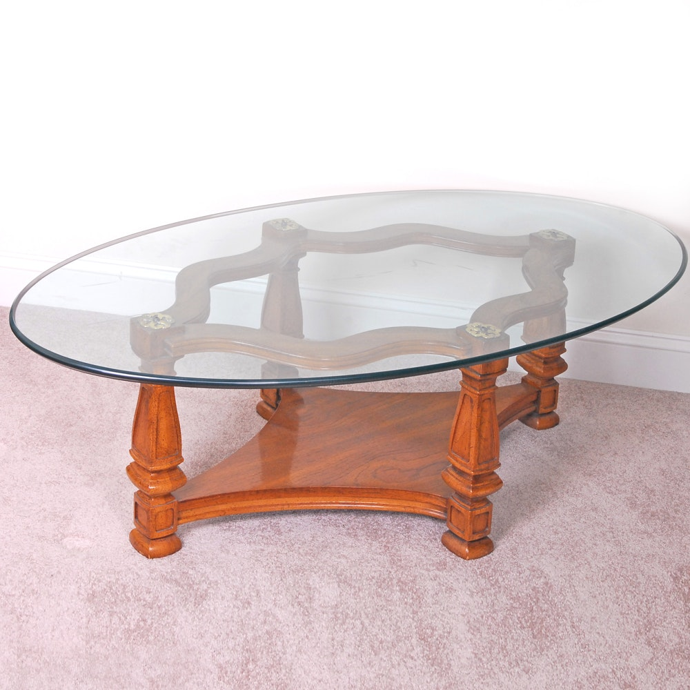 Vintage Mediterranean Style Glass Top Coffee Table ...