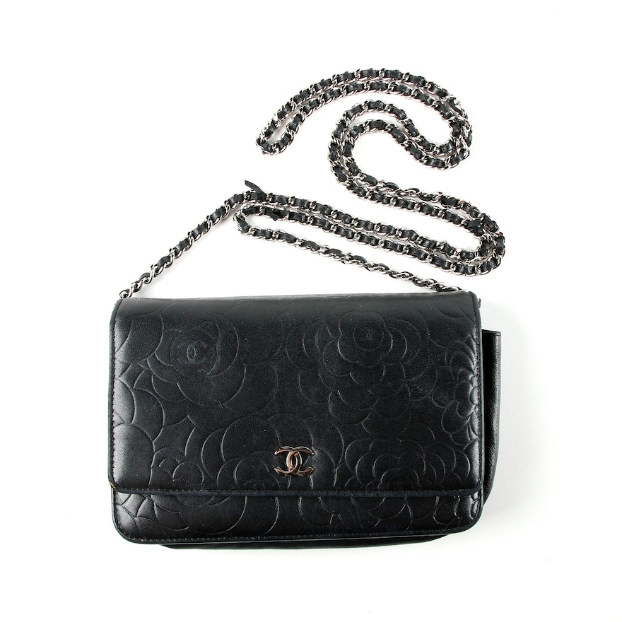 bd6cf02131cf Chanel Black Lambskin Leather Camellia Wallet on Chain Clutch Bag : EBTH