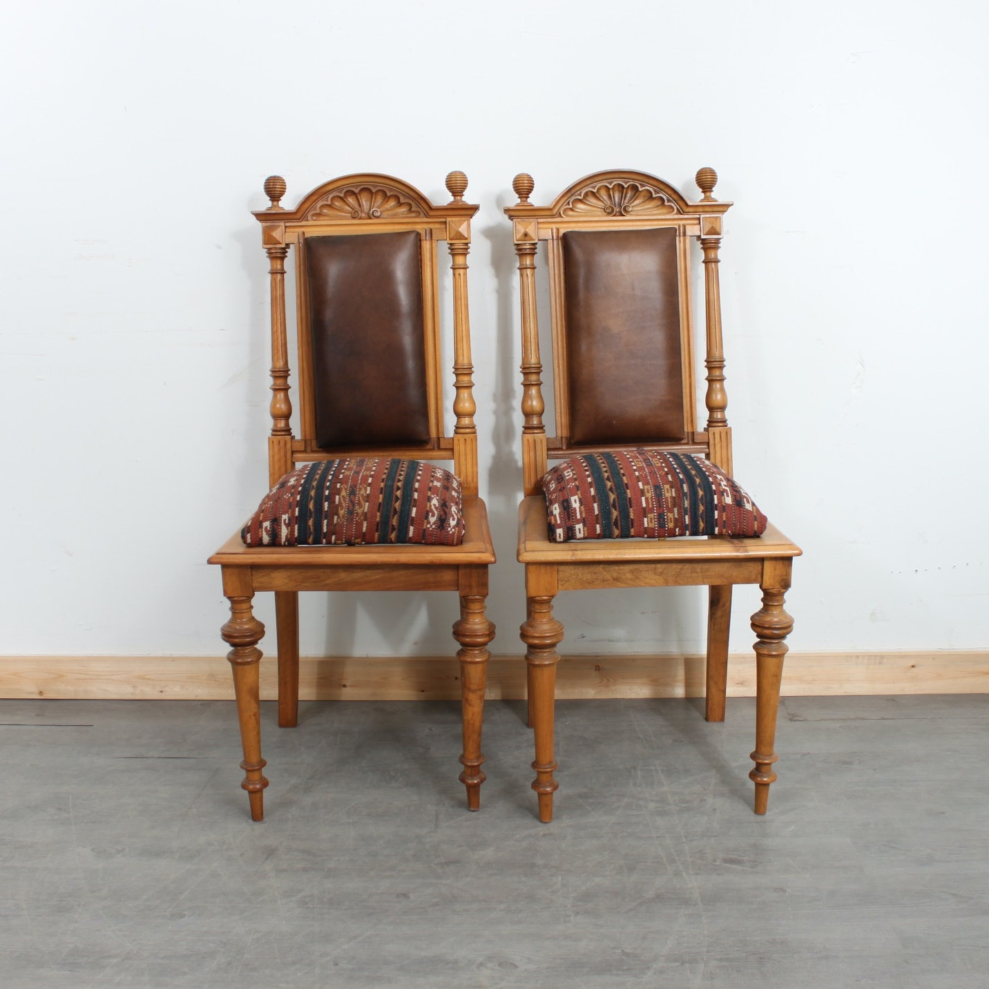 Vintage Jacobean Revival Carved Wood Dining Chairs