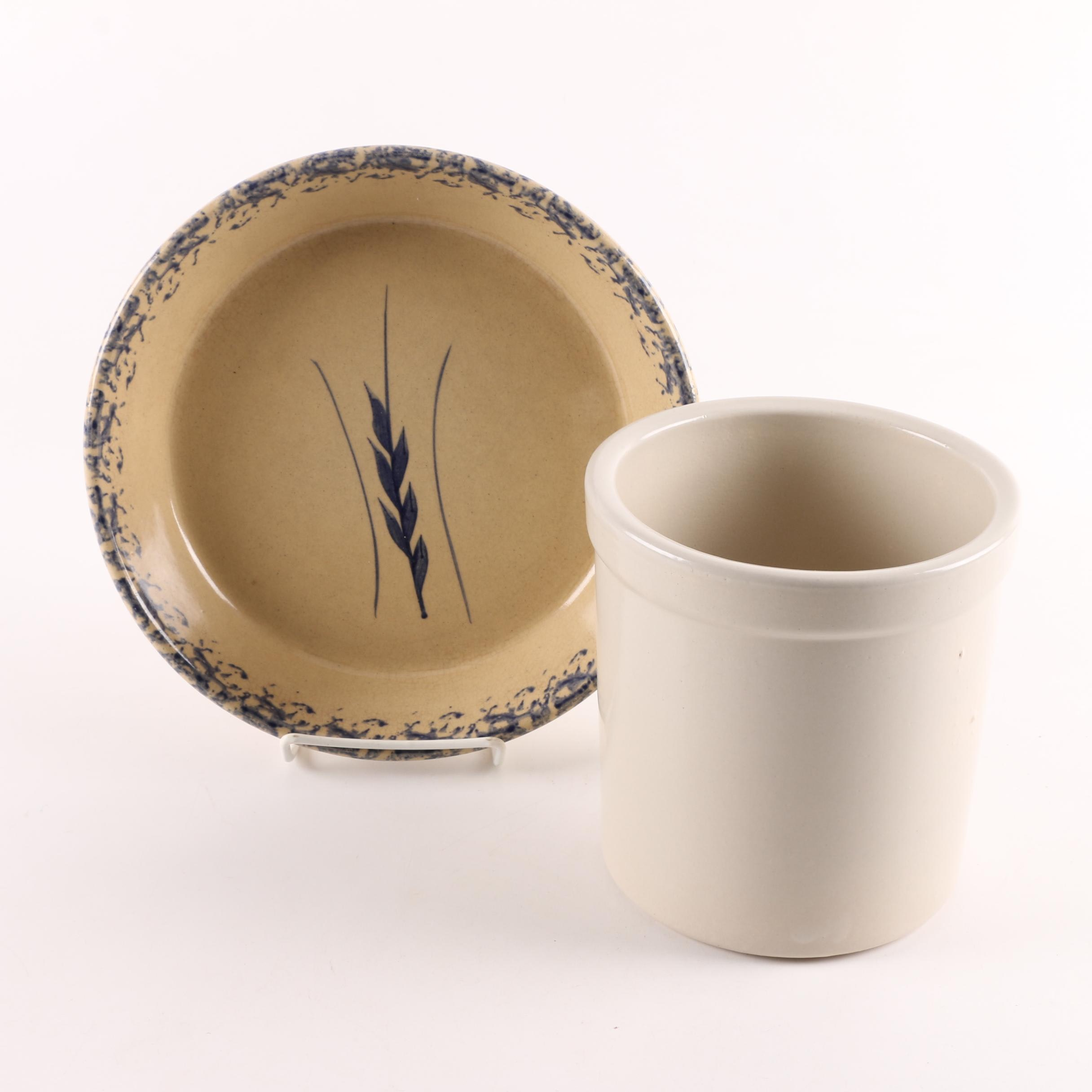 Robinson-Ransbottom Pie Plate and Stoneware Crock ... & Robinson-Ransbottom Pie Plate and Stoneware Crock : EBTH