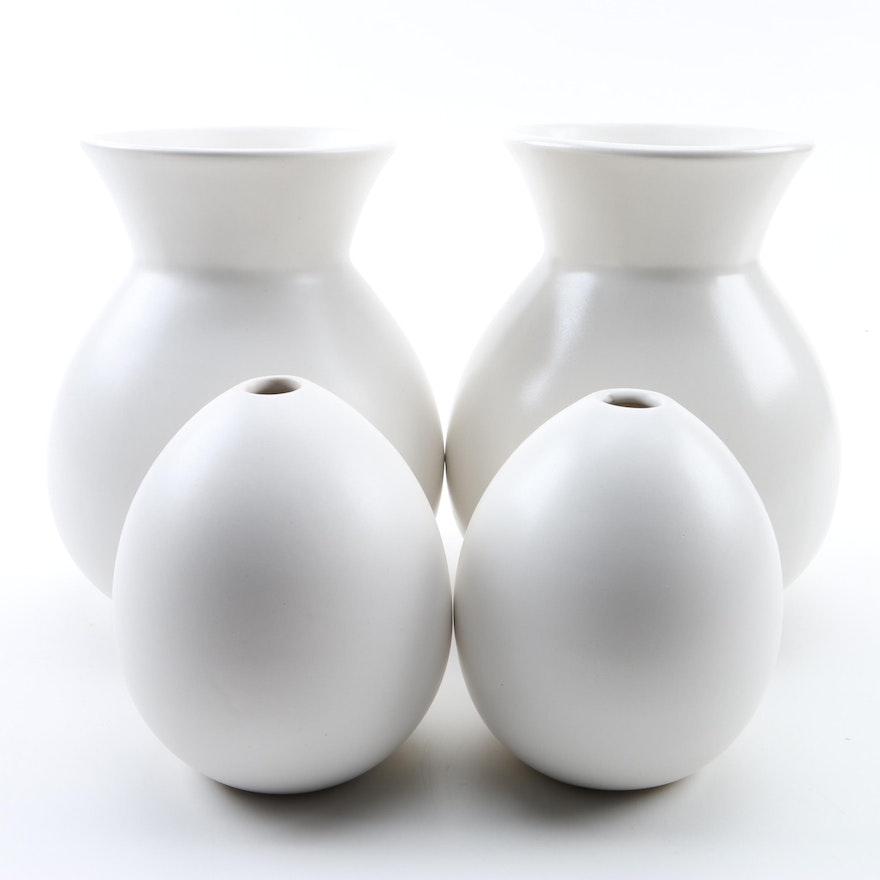 West Elm Pure White Ceramic Vases Ebth