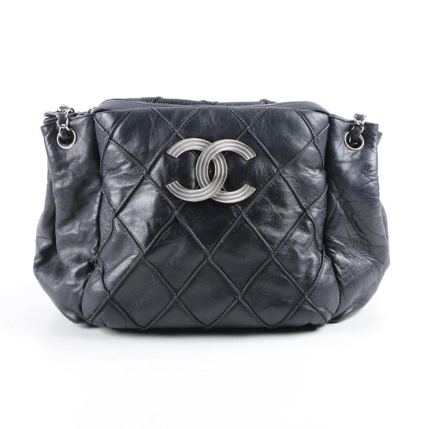 12835dd2f748 Chanel 2008-09 Black Lambskin Leather Handbag   EBTH