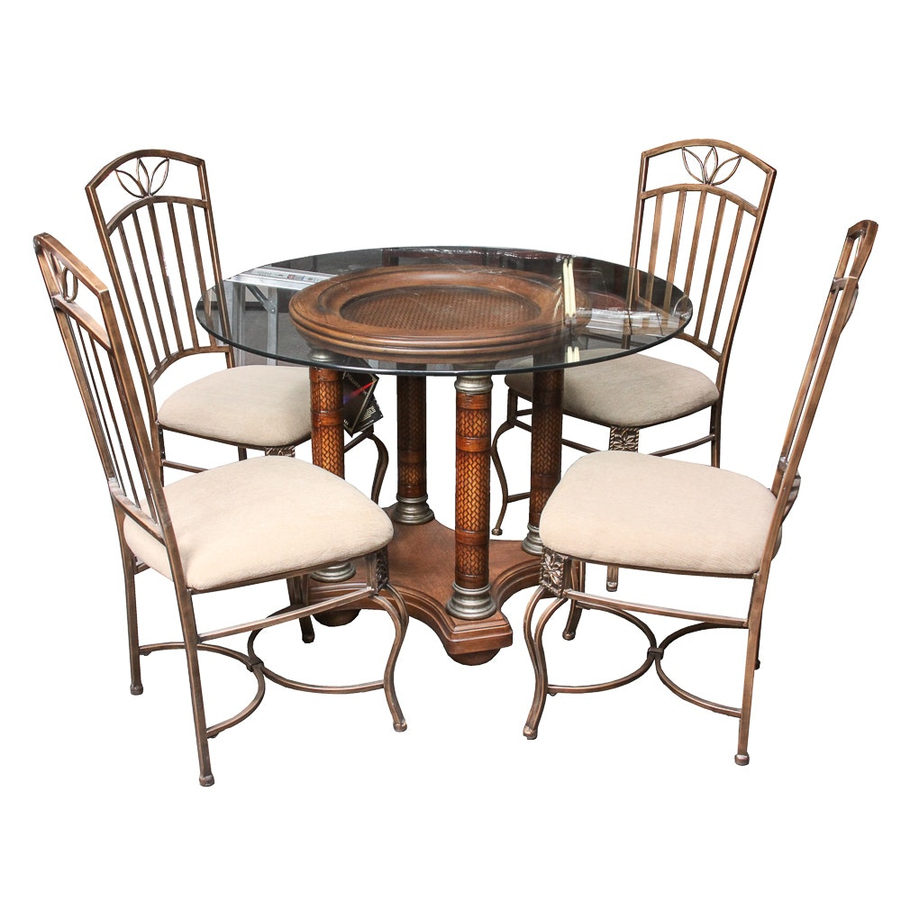 Glass Top Dining Table with Four Chairs