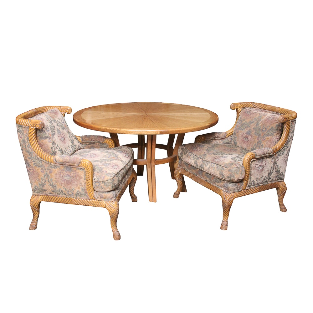 Oak Table and Two Upholstered Armchairs