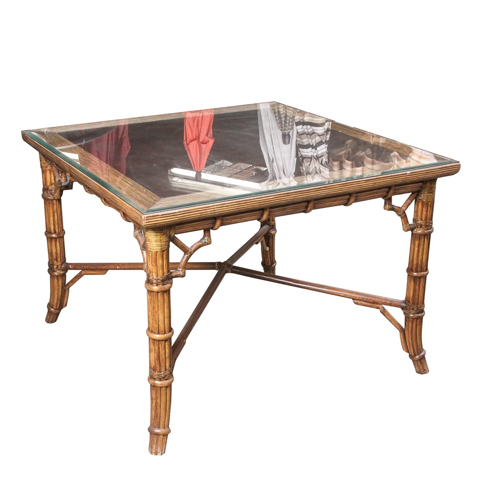 Glass Top Rattan Dining Table