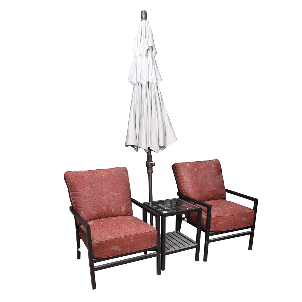 Summer Classics Contemporary Patio Chairs, Side Table and Umbrella