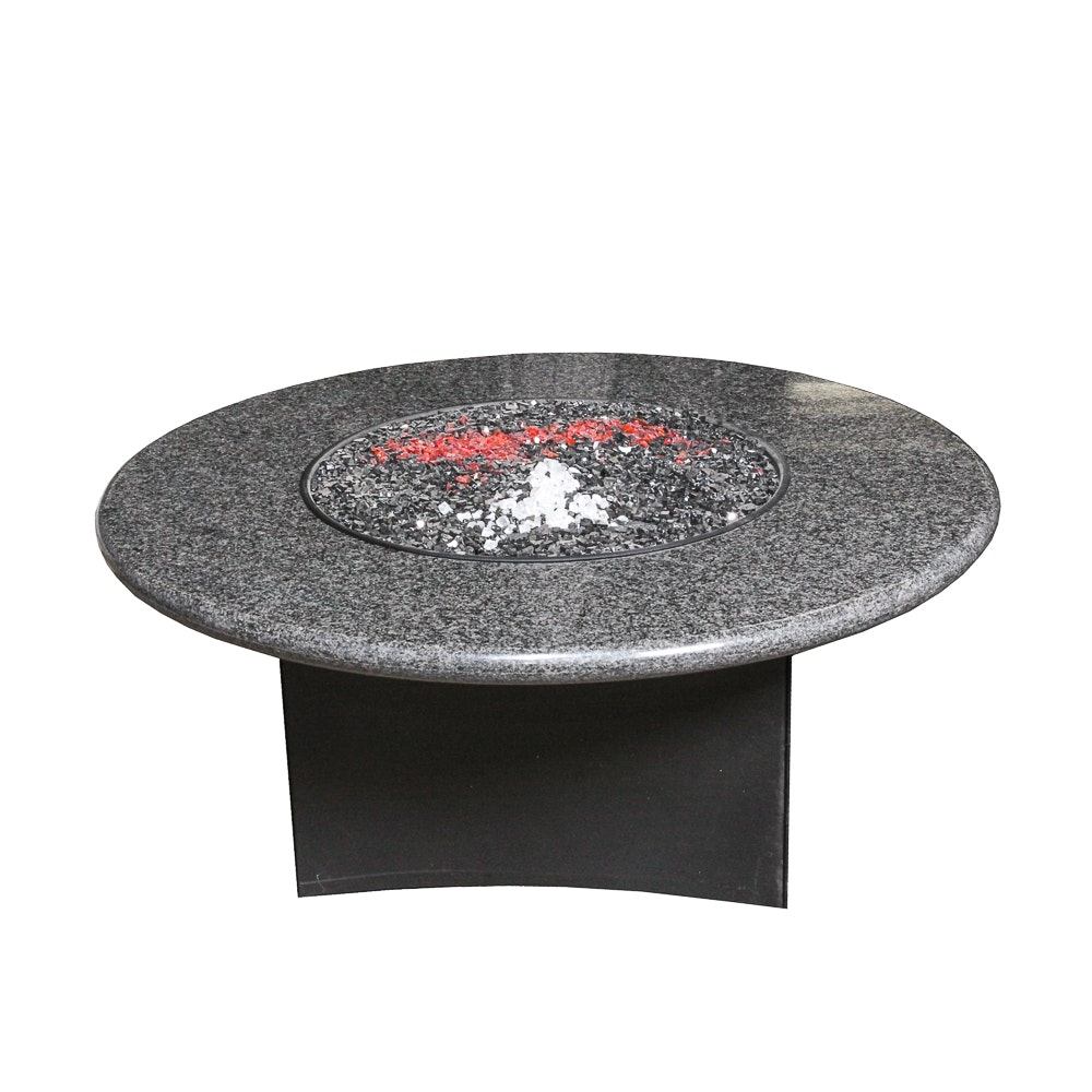"""Oriflamme"" Granite Top Fire Pit with Rocks"