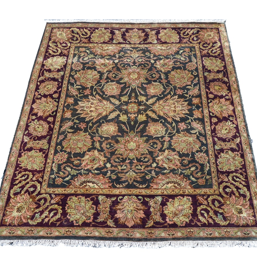 Hand-Knotted Indian Agra-Style Wool Area Rug : EBTH