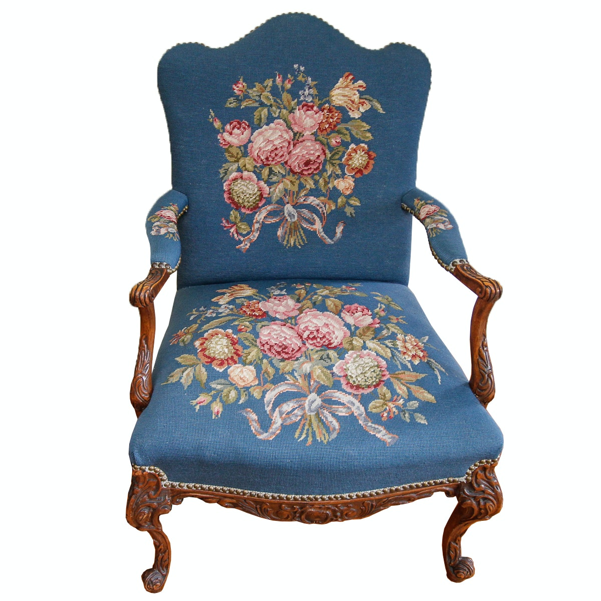 Vintage Louis XV Style Armchair with Needlepoint Upholstery