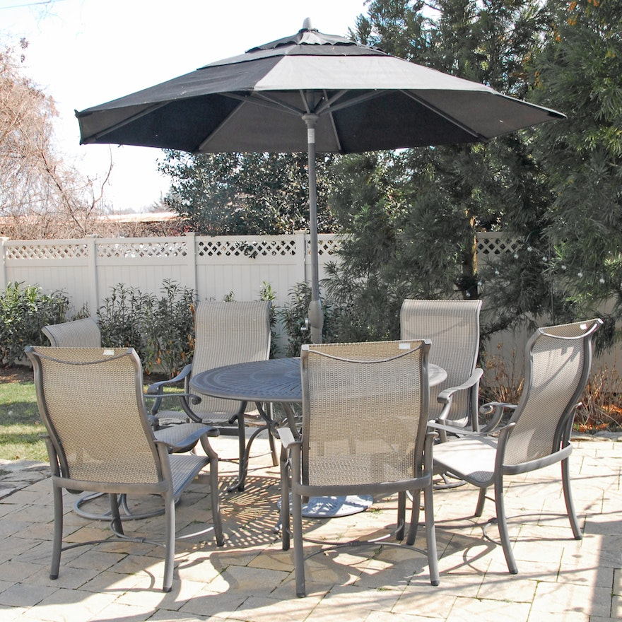 tropitone patio chairs treasure garden umbrella and patio table - Tropitone Patio Furniture
