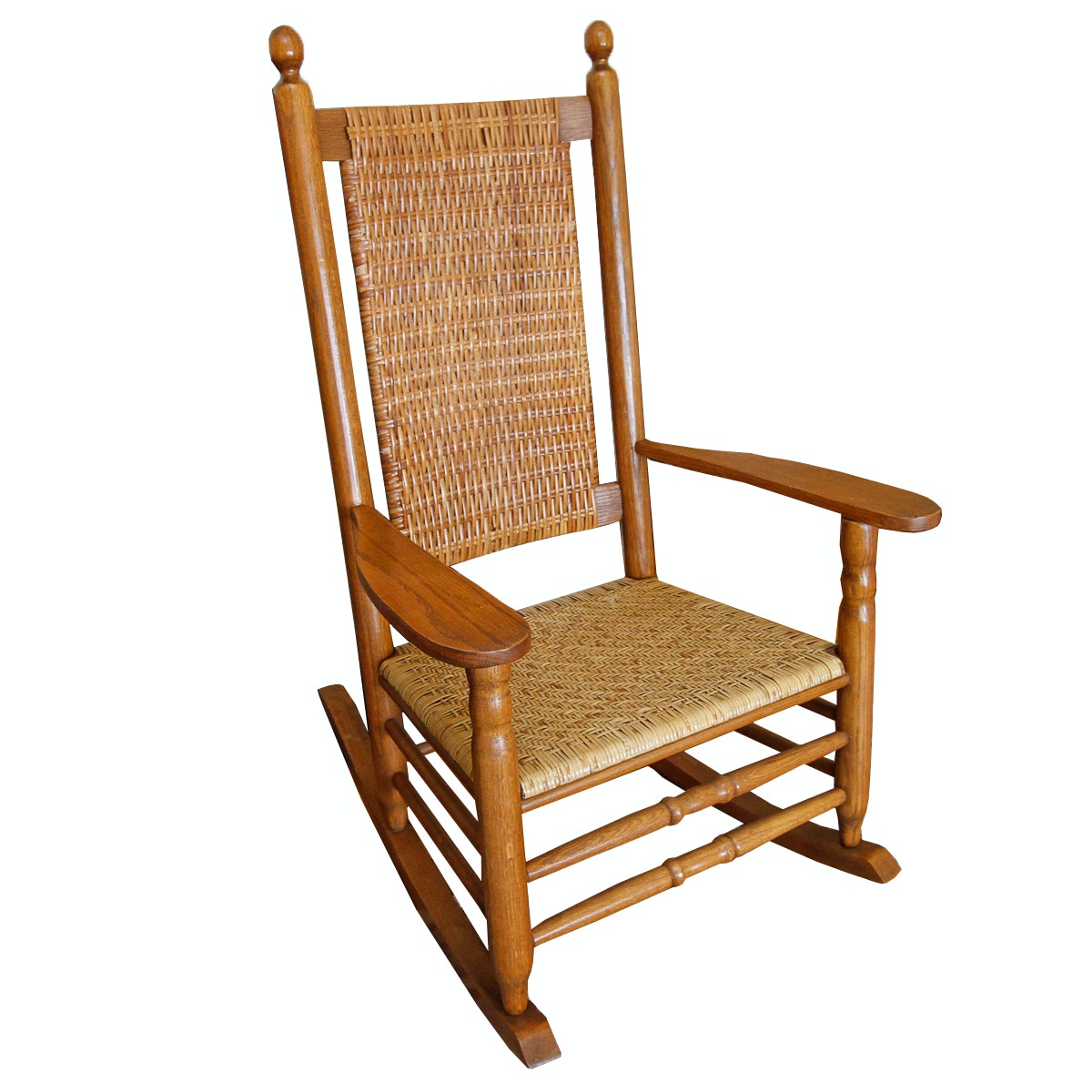 Vintage Woven Back and Seat Rocking Chair