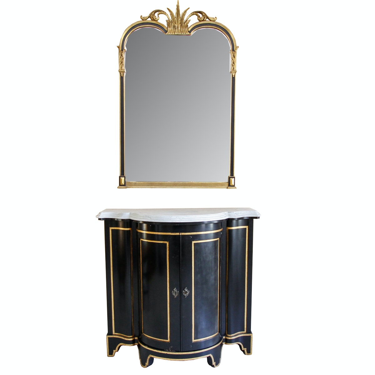 Hollywood Regency Style Console Table and Wall Mirror