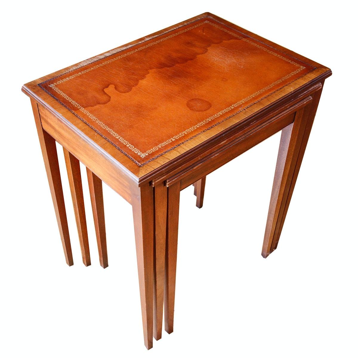 Henredon Leather Top Mahogany Nesting Tables