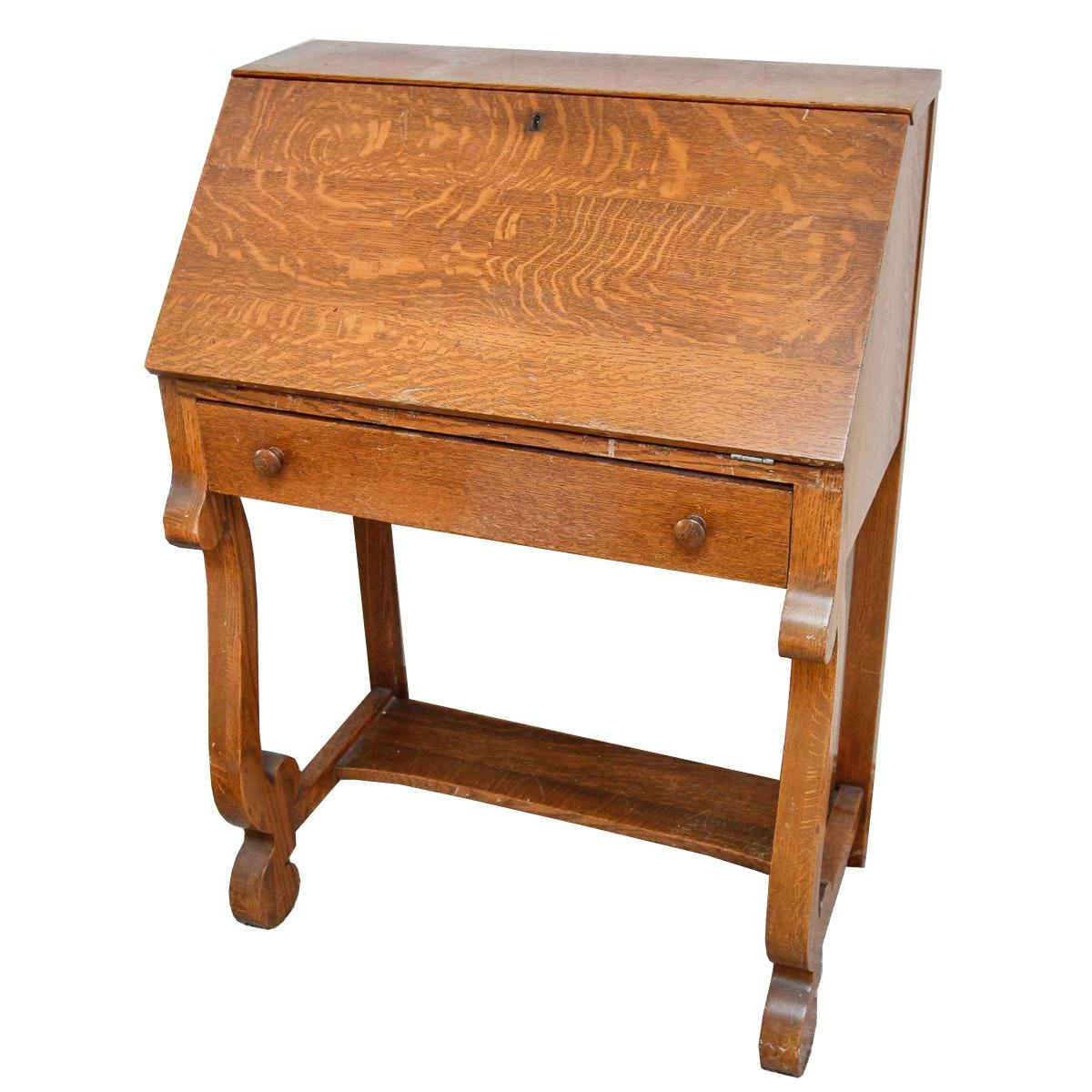 Vintage Empire Style Oak Secretary Desk