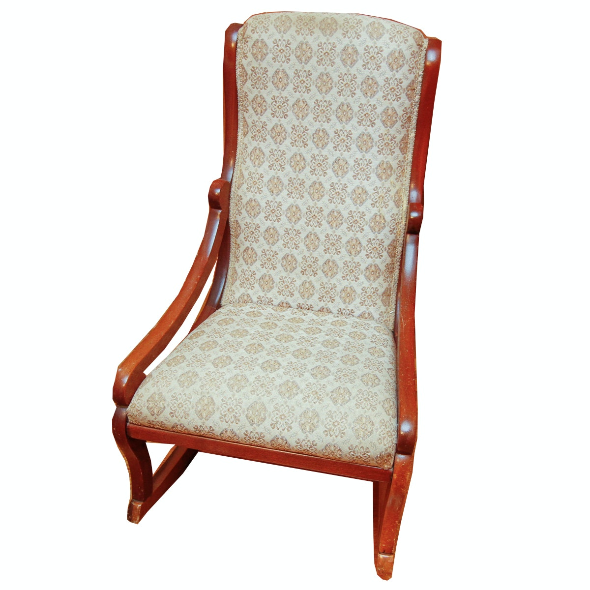 Vintage Oak and Upholstered Rocking Chair