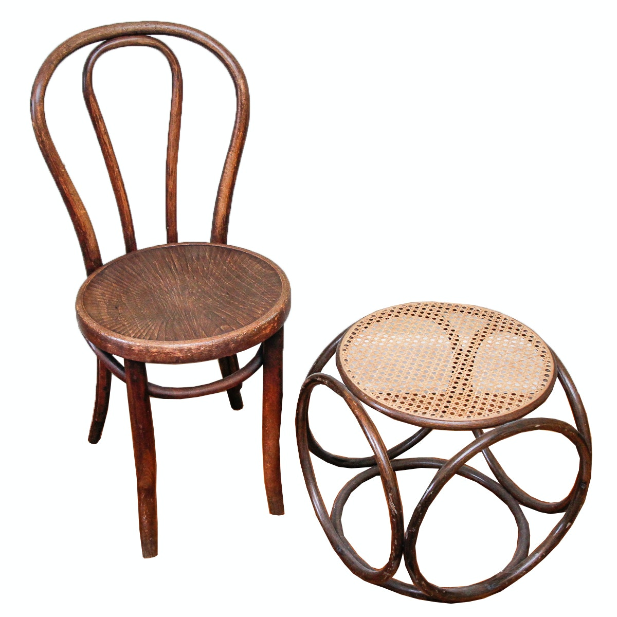 Vintage Bentwood Chair And Cane Ottoman ...