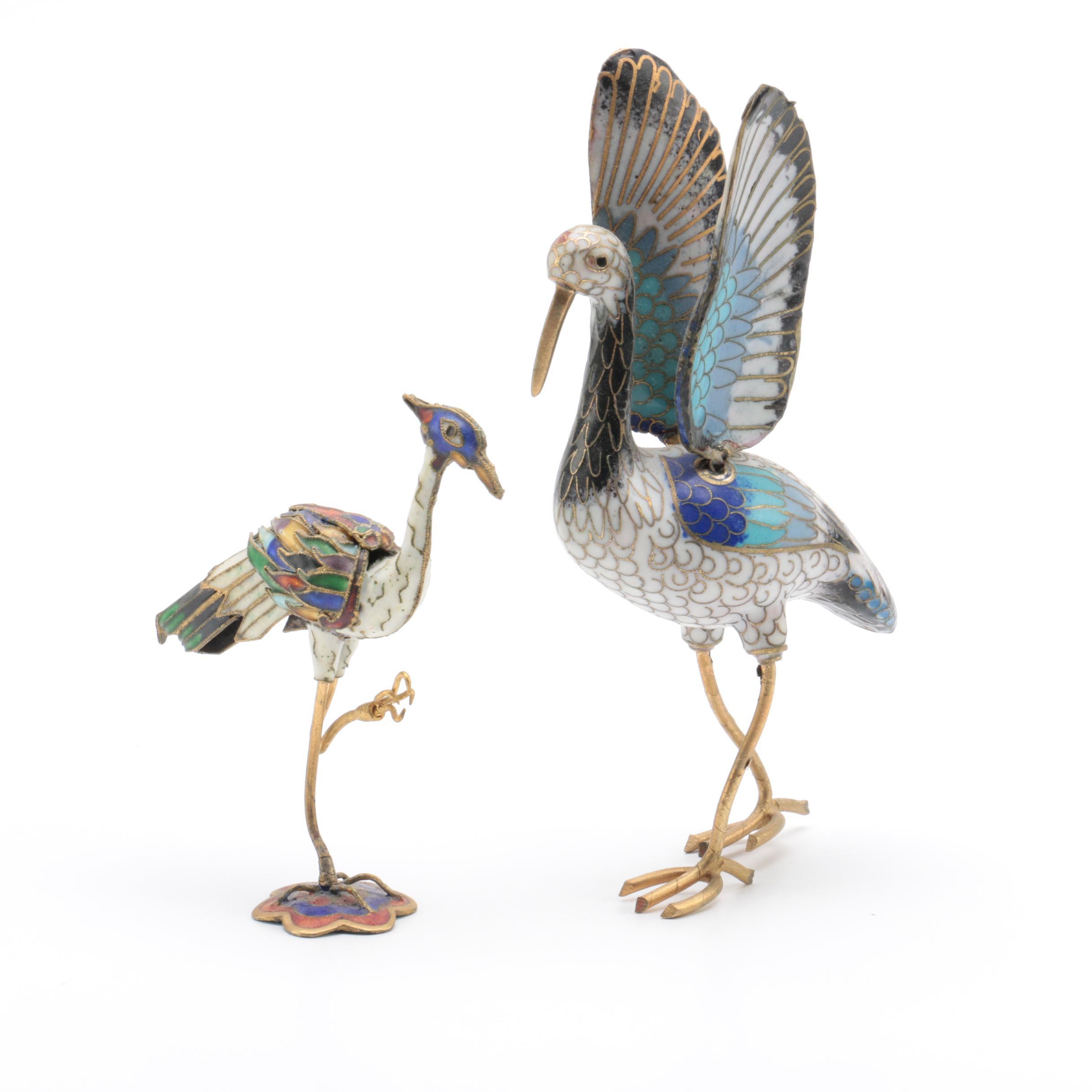 Colorful Cloisonne Bird figurines