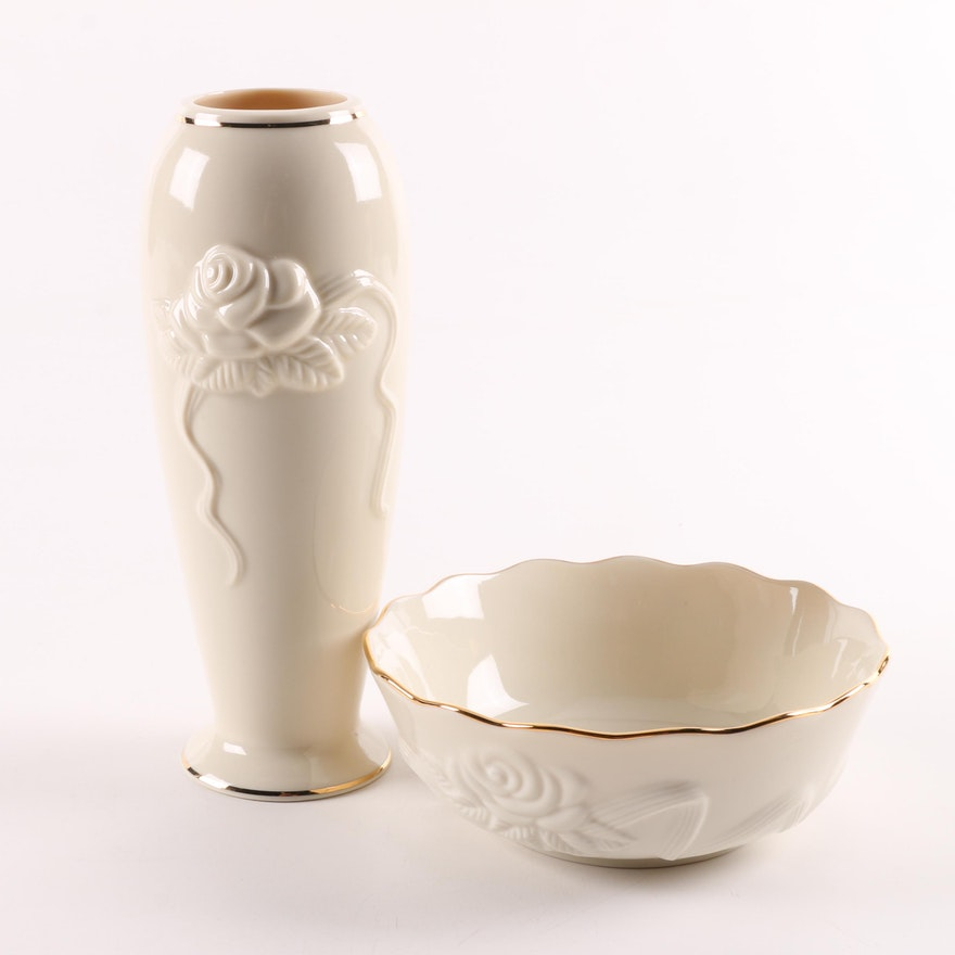 Lenox Rose Blossom Porcelain Vase And Bowl Ebth
