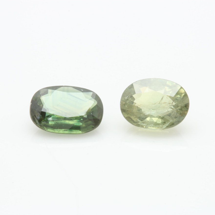 Loose 1 35 CT and 1 40 CT Natural Green Sapphires