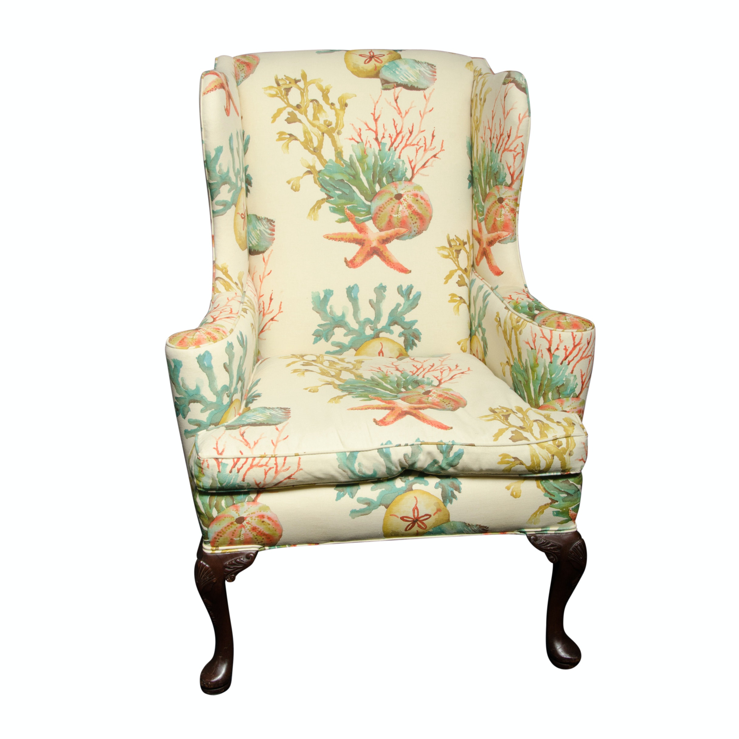 Queen Anne Style Upholstered Wingback Chair