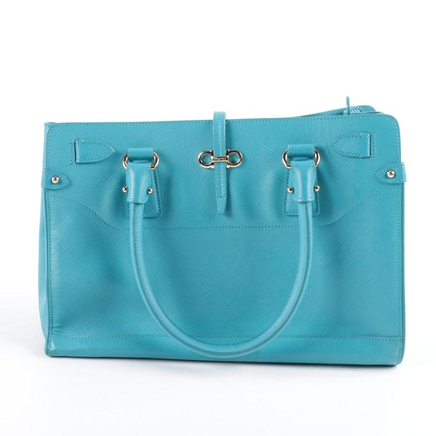 9644c36f3327 Salvatore Ferragamo Briana Turquoise Saffiano Leather Tote Bag