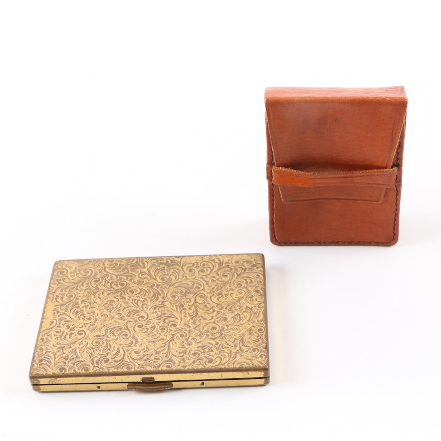 Vintage Business Card Case and Leather Cigarette Case : EBTH