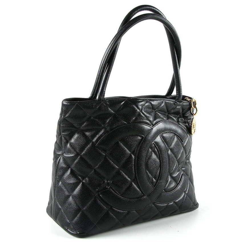 7be071316f20 Chanel Black Caviar Leather Medallion Tote | EBTH