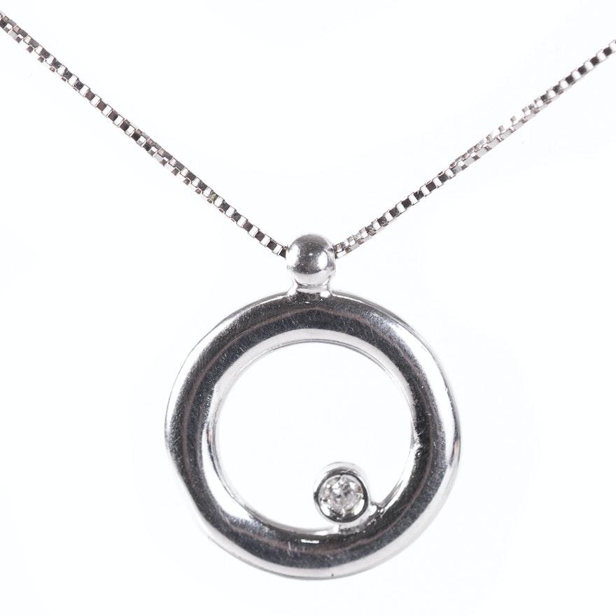 14k white gold and diamond circle pendant necklace ebth 14k white gold and diamond circle pendant necklace aloadofball Gallery