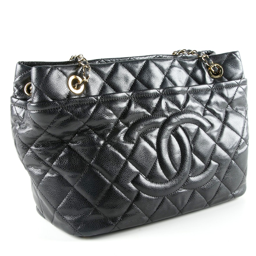 9e6174066694fe Chanel Timeless Quilted Black Caviar Leather CC Tote : EBTH