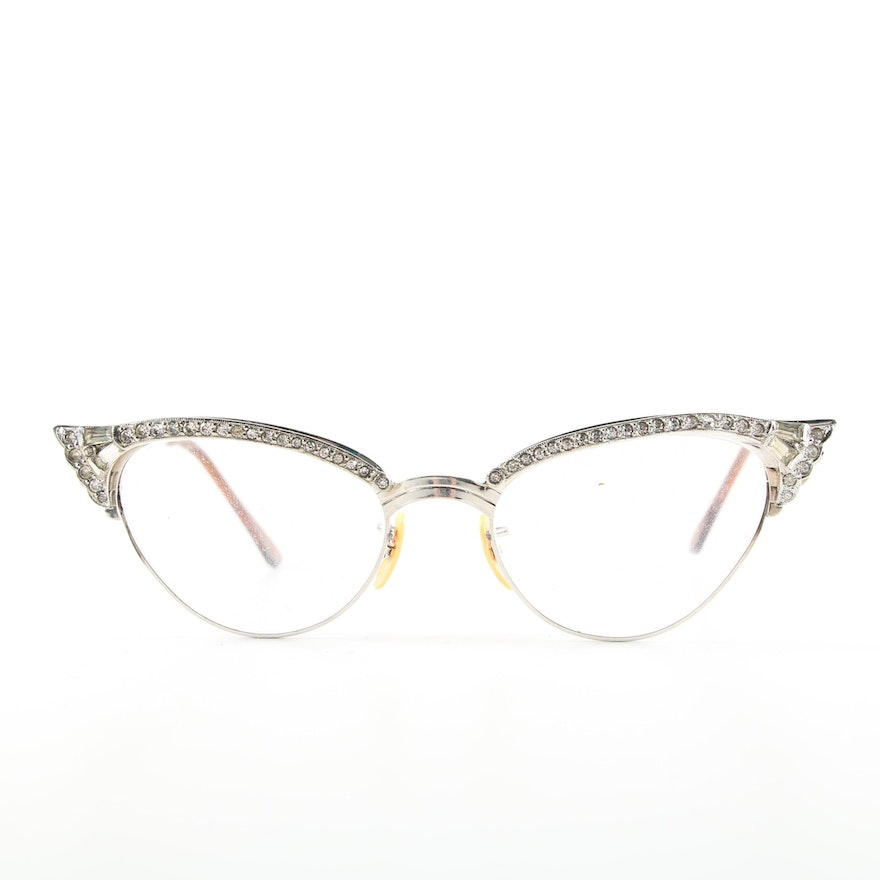71e37554f4a Vintage 12K White Gold-Filled Rhinestone Cat Eye Eyeglasses   EBTH