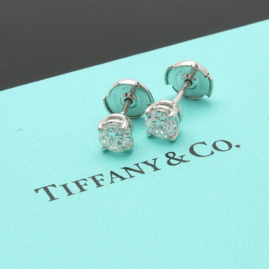 Tiffany Co Platinum 1 15 Ctw Diamond Stud Earrings